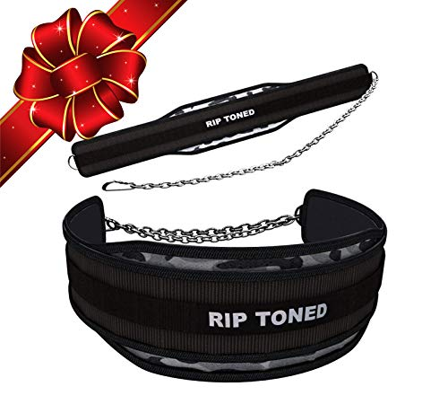 "Rip Toned Dip Belt with Chain - 36"" Heavy Duty Steel Chain - for Weightlifting Pull Ups, Dips, Powerlifting, Xfit, Bodybuilding, Strength Training - Add More Weight While Lifting for Men & Women"
