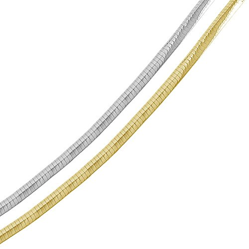 5mm Sterling Silver Italian Necklace 14K Gold Plated 2 Tone Reversible Flat Omega Chain (16, 18, 20, 22), 20 2 Tone 14k Gold Plated