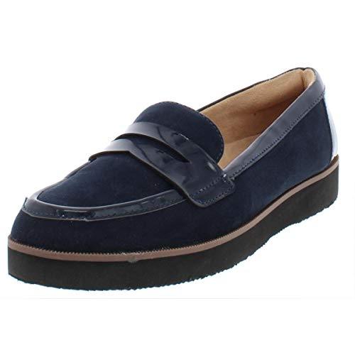 Naturalizer Womens Zoren Faux Suede Platform Loafers Navy 7.5 Medium (B,M)