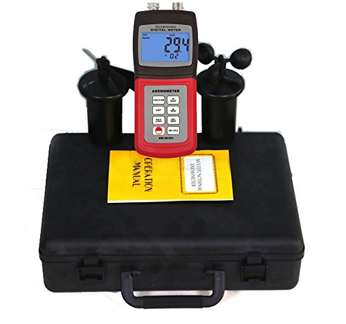 AM-4836C Digital Multifunction Anemometer Wind Speed Meter Air Velocity Flow Temperature Direction Gauge Multi-Functional Environmental Tester , Red