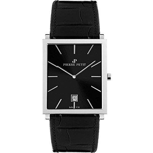 Pierre Petit Men's P-789A Serie Nizza Square Black Dial Genuine Leather Watch