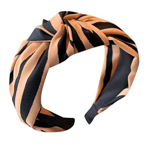 Yucode Women's Striped Printing Cross Knot Hair Hoop Fashion Stretchy Magic Headband Hair -