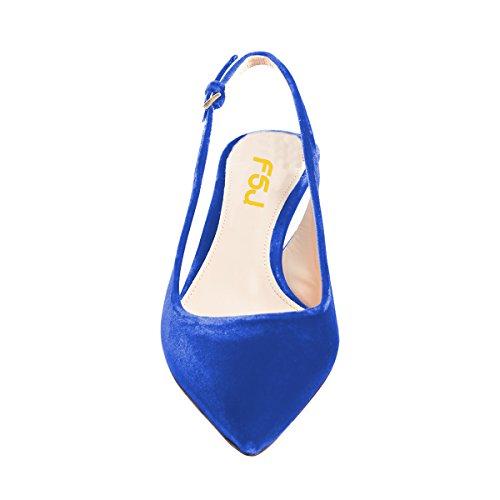 Royal Shoes Blue FSJ Slingback Classy Mid 4 Pointy Heels Pumps Comfort Kitten Size Toe Velvet US 15 Women Dress 1A7q1wT