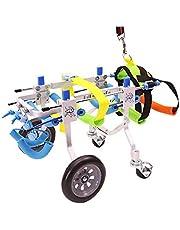 Verstelbare hondenrolstoel XXS-XL maat achterbenen revalidatie voor gehandicapte kleine hond/hondje/puppy, hondenkarren 4 wielen - 5NWD4VJA (maat: L)