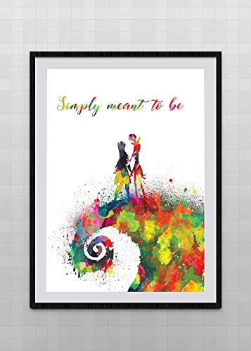 Jack Sally Nightmare Before Christmas Inspired Watercolor Art Print Halloween Wall Art Wedding Gift Anniversary Gift #2