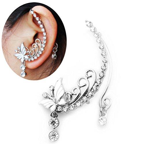 - Ear Wrap Leaf Vine Crystal Fairy Elven Earring Wedding Jewelry Party Wear One Pieces