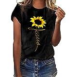 Print Sunflower Shirt,JKioleg Plus Size Classic Fit Short Sleeved Crew T-Shirt Blouse Tops