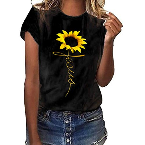 TIFENNY Classic Tee for Women Summer Plus Size Sunflower Print Short Sleeved T-Shirt Blouse Tops New Crewneck Shirts Black