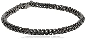"Black Rhodium Sterling Silver Black Diamond Tennis Bracelet (1 Cttw), 7"" by Delmar Mfg LLC"
