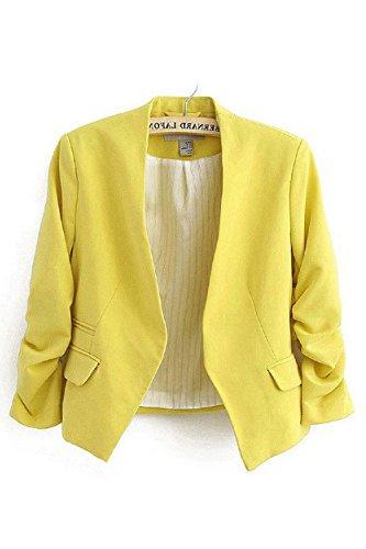 Vestito 3 Cappotto Giallo Giacche Ufficio Della Slim Sevozimda Aperta A Manica Davanti Le Giacca 4 Donne SqwS6f7F0