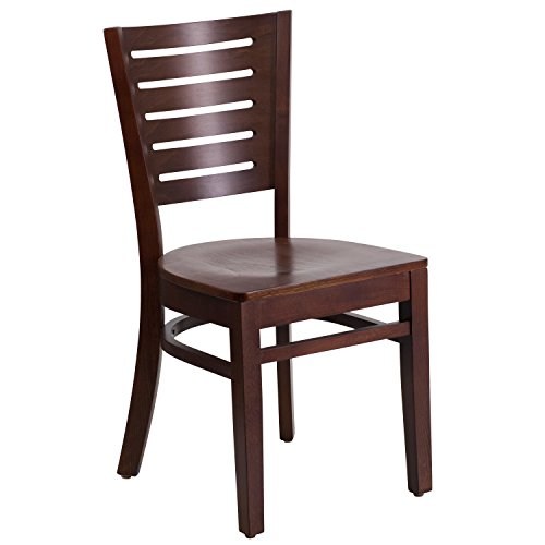 Flash Furniture Darby Series Slat Back Walnut Wood Restaurant Chair Beechwood Slat Back Kitchen Chair