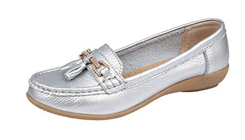 Womens Ladies Slip On Leather Tassel Bar Comfort Work Summer Casual Loafers Shoe Silver RMVke