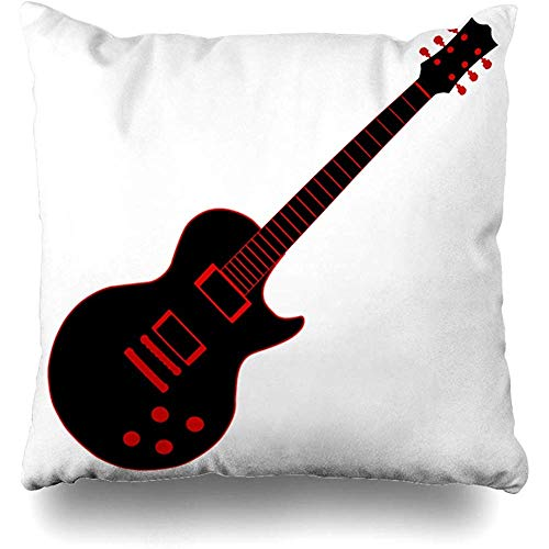 (Throw Pillow Cover Cushion Case Blues Black Electric Guitar Over Body Drawing Gold Graphic Instrument Design Musical Home Decor Square 18x18 Inches)