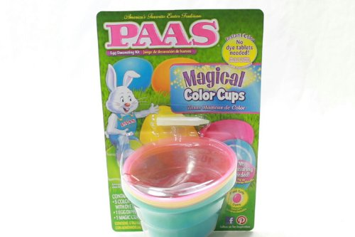 5 PAAS Magical Color Cups + Egg Dipper & Magic Crayon Yellow Pink Orange Blue - Cup Egg Blue