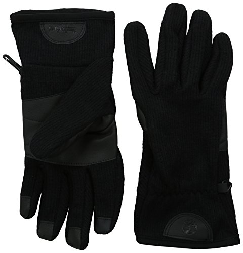 (Timberland Men's Ribbed Knit Wool Blend Glove with Touchscreen Technology, Black, Medium)