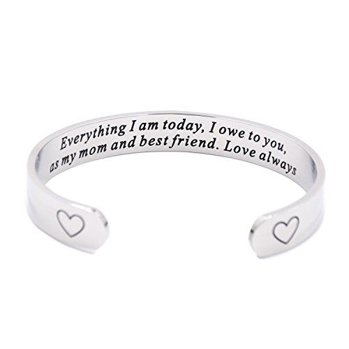 LParkin Mom Jewerly Everything I Am Today I Own to You Stepmom Bracelet (Cuff)]()