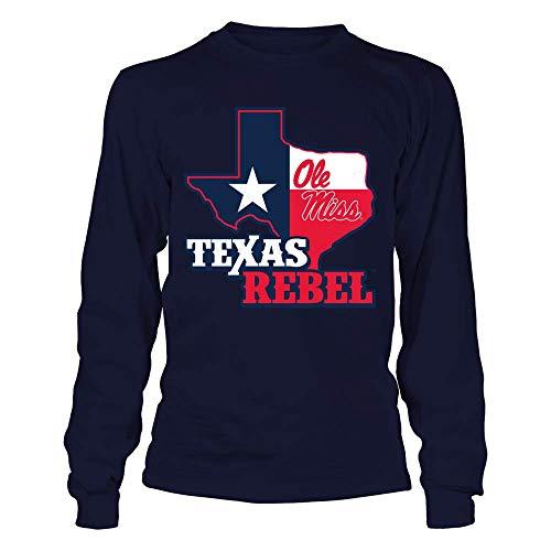 FanPrint Ole Miss Rebels T-Shirt - Texas Map Mascot - Longsleeve - Miss Sleeve Long Ole