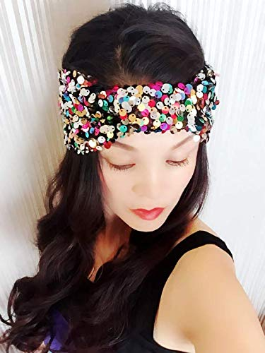 ★★Best Choice And Best Discounts★★Colored Sequin Headband,Women Headband,Turban Headband,Stretch Headband,Fashion Headband,Head Wrap,Head Scarf,Fashion,Gift,Show,Party,Holiday