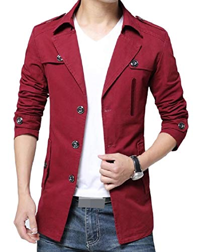 Warm Jacket Button EnergyMen Outwear Washed Cotton Size Lapel Plus Solid Red Wine BwxxqzI7t