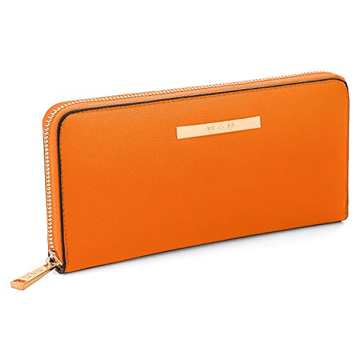 (Iphone Wallet Case for Women, U+U Ladies Purse Soft PU Leather Zipper Large Capacity with 8 Cards Slots(Orange))