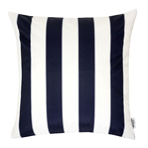 Homey Cozy Outdoor Throw Pillow Cover, Classic Stripe Navy Blue Large Pillow Cushion Water/UV Fade/Stain-Resistance For Patio Lawn Couch Sofa Lounge 20x20, Cover Only (Stripe Outdoor Pillow Navy)