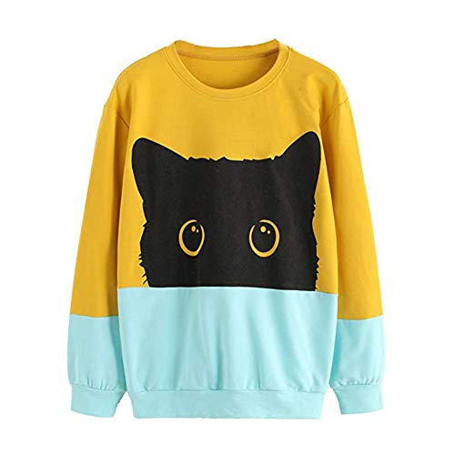 Big Promotion! Toimoth Women Long Sleeve Casual Cat Print Hoodie Sweatshirt Hooded Pullover Tops Blouse(Yellow,S)