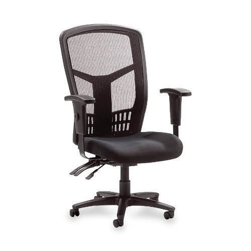 Lorell Executive High-Back Chair, Mesh Fabric, 28-1/2″x28-1/2″x45, BK