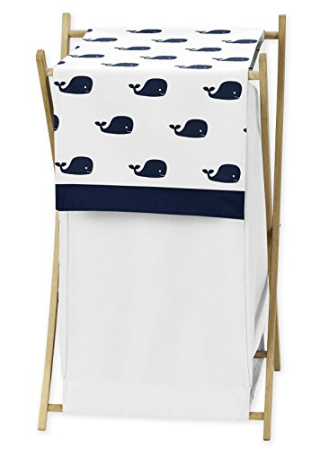 Sweet Jojo Designs Baby Children Kids Clothes Laundry Hamper for Blue Whale Collection Bedding Set