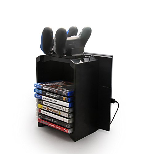 HOOSUN-PS4-Multifunctional-Charging-Storago-Stand-kit-3-in-1-Host-Controller-Holds-12-Layers-Game-Disks-Storage-Holder-with-Dual-USB-Cradle-Set-for-Sony-PlayStation-4
