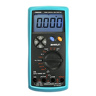all-sun Handheld Digital Multimeter TRMS Dual Fuse LCD Auto AC DC Volt Meter Ohm Amp Temp Tester Tool with USB Terminal DMM