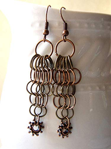 Chainmaille Steampunk Mixed Metals Long Dangly Earrings Copper Antique Bronze Finish