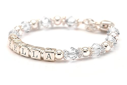 Personalized Baby Charm Bracelet - Sterling Silver Beaded - Birth Month Crystal (April) Crystal Silver Baby Bracelets