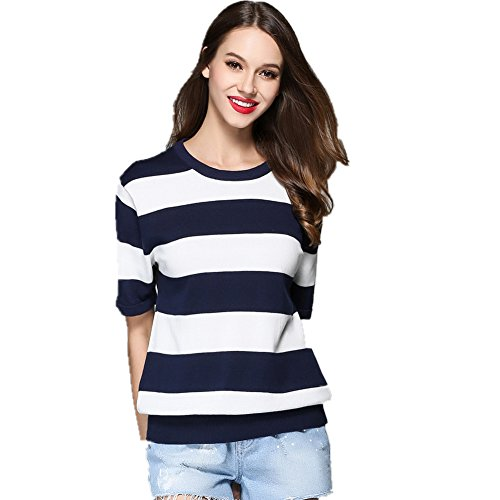 Sweater Crewneck Ladies Short Sleeve (ICOCOPRO Women's Crewneck Sweater Lady Short Sleeve Knitwear Cotton Blouse Slim Striped Sweatershirt (M, Blue))