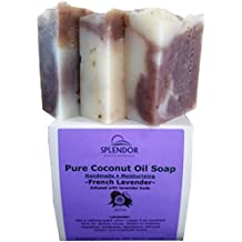 French Lavender (10.5 oz) -Pure Coconut Oil Soap. Handmade, Vegan, Moisturizing, Therapeutic-Grade Essential Oils, Alkanet root and Garden Fresh Lavender Buds