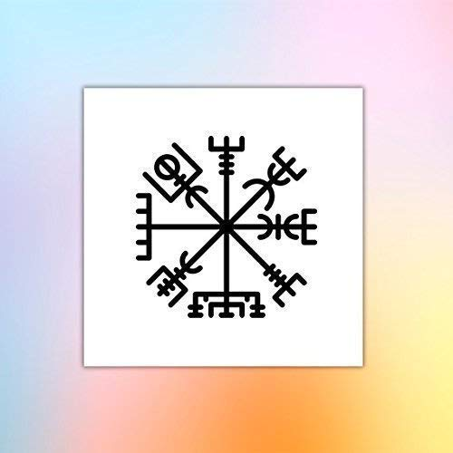 Vikingo - Aegishjalmur - Vegvisir - Tatuaje temporal (conjunto de ...