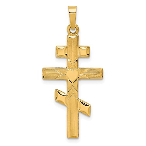 14k Yellow Gold Eastern Orthodox Cross Religious Pendant Charm Necklace Fine Jewelry For Women Gift Set ()