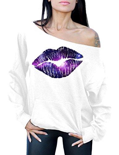 Sexy Purple Lips Off The Shoulder Sweatshirt for Women - S to XXL