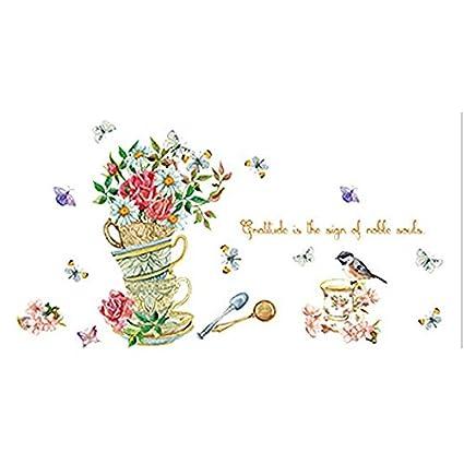 Amazon.com: SODIAL(R) Ingemaakte bloemen vogel muurstickers home ...