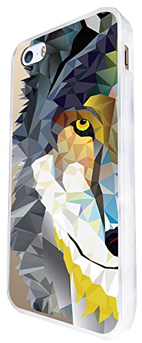 283 - Geometric Aztec Wolf Tiger Face Design iphone SE - 2016 Coque Fashion Trend Case Coque Protection Cover plastique et métal - Blanc