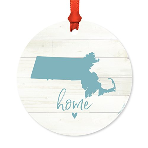 Andaz Press US State Round Metal Christmas Ornament, Rustic Light Wood Print, Massachusetts Home, 1-Pack, Includes Ribbon and Gift Bag (Massachusetts Christmas Lights)