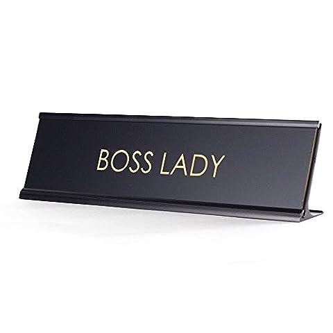 Boss Lady - Black Desk Name Plate for Boss - Boss Office Desk