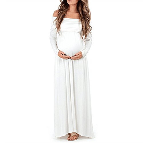 Pregnant Women Off Shoulder Long Sleeve Maternity Dress Baby Shower Maxi Gown Photography Dress for Photo Shoot White