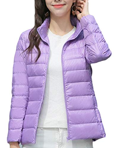 MogogoWomen Weight Stand Short Mini Light Light Size Collar Solid Plus Zip Jackets Down Purple BpxBHrq