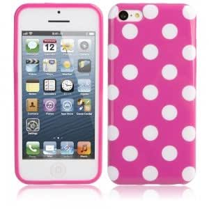 Dots Pattern Protective TPU Case for iPhone 5C Purple + White