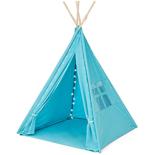 Best Choice Products 6ft Kids Cotton Canvas Indian Teepee Playhouse Sleeping Dome Play Tent w/ Lights, Carrying Bag, Mesh Window - Blue -