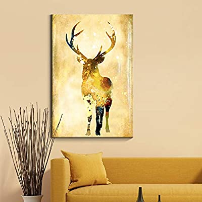 Golden Watercolor Style Stag - Canvas Art