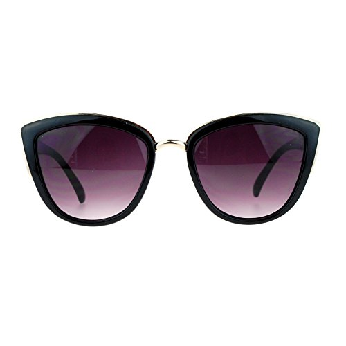 - SA106 Runway Fashion Metal Bridge Trim Oversized Cat Eye Sunglasses Black Gold