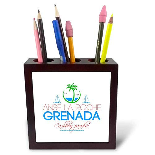 (3dRose Alexis Design - Caribbean Beaches - ANSE La Roche Grenada Caribbean Paradise Text and Images - 5 inch Tile Pen Holder (ph_303784_1))