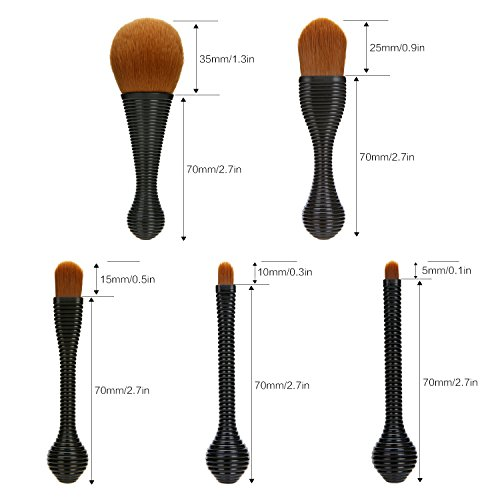 Lollipop Makeup Brushes Set, Silky Select 5pcs Professional Tiny Face Brush with Holder for Cosmetics Eye Shadow Lip Contour Foundation Brushes in Portable Travel Case for Easy Hang and Dry-Black