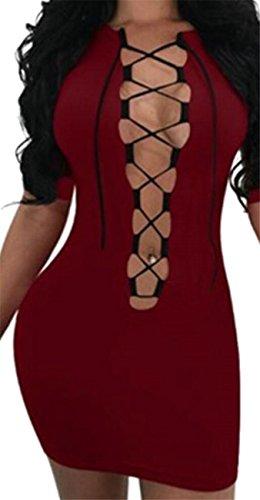 Donna Con Da Jaycargogo Il Vino Sottile Montato Discoteca Rosso Cinturino Si Bodycon Sexy Veste qB5d68nwTd